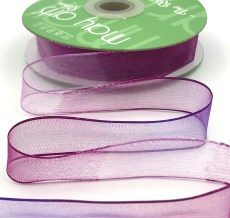 3/4 Inch Soft Variegated (multi-color) Sheer Ribbon with Thin Solid Edge - SNV-34-47 Lavender/Violet
