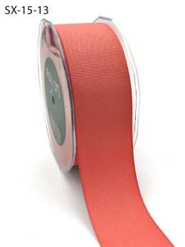 1.5 Inch Heavy-Weight (higher thread count) Classic Grosgrain Ribbon with Woven Edge - SX-15-13 Coral
