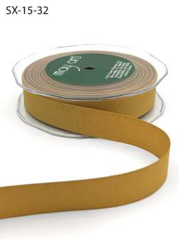 3/4 Inch Heavy-Weight (higher thread count) Classic Grosgrain Ribbon with Woven Edge - SX-34-32 Antique Gold