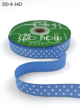 5/8 Inch Grosgrain Printed Dots Ribbon with Woven Edge - DD-8-34D LIGHT BLUE/WHITE DOTS