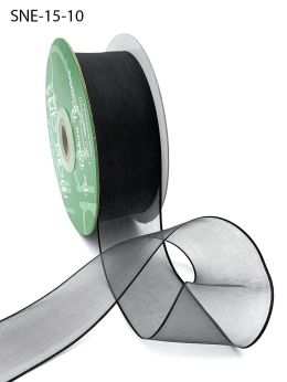 1.5 Inch Soft Sheer Ribbon with Thin Solid Edge - SNE-15-10 BLACK