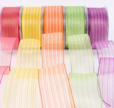 1.5 Inch Sheer / Pinst4ipes (Wired) Ribbon