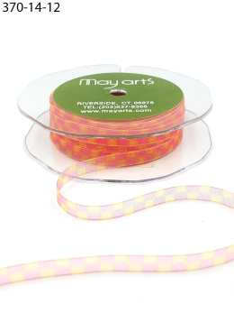 1/4 inch Sheer / Print Ribbon - 370-14-12 PINK / YELLOW SQUARES