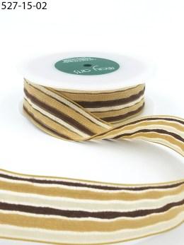 1.5 Inch Multi-Color Fuzzy Striped Ribbon with Woven Edge - 527-15-02 Brown/Tan/White