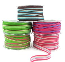 5/8 Inch Multi-Color Striped Ribbon with Woven Edge