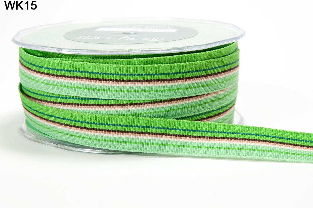 "5 yds 5//8/"" Grosgrain Variegated Stripes-May Arts Ribbon WK34-Aqua//Orange"
