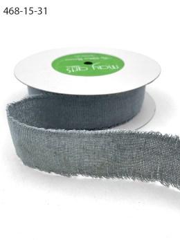 Gray Frayed Edge Linen Cotton Ribbon