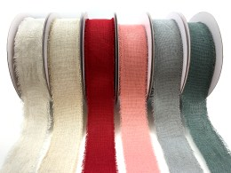 "1.5"" Frayed Edge Linen Cotton Ribbons"