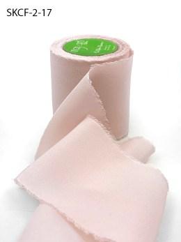 Pale Pink Frayed Edge Silk Chiffon Ribbon