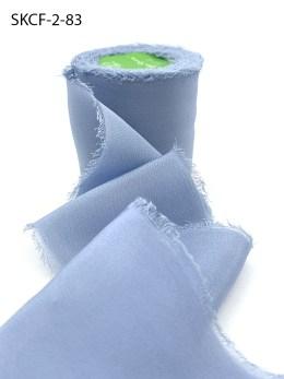 Dusty Blue Frayed Edge Silk Chiffon Ribbon