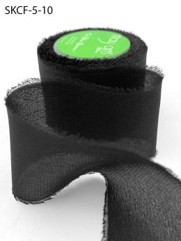Black Frayed Edge Silk Chiffon Ribbon