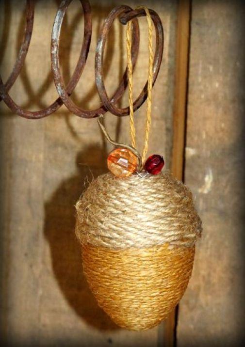 Thanksgiving Acorn Burlap String Ornament