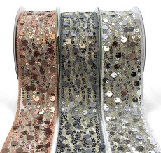 "1.5"" Mult-Sequin Woven Waved Mesh Ribbons"