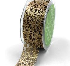 "1.25"" Antique Gold Metallic Web Ribbon"