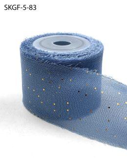 Mini Gold Polka Dot Slate Blue Silk Georgette Ribbon