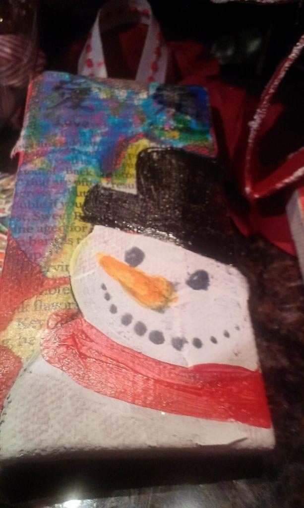 Mixed Media Canvas Christmas Ornaments