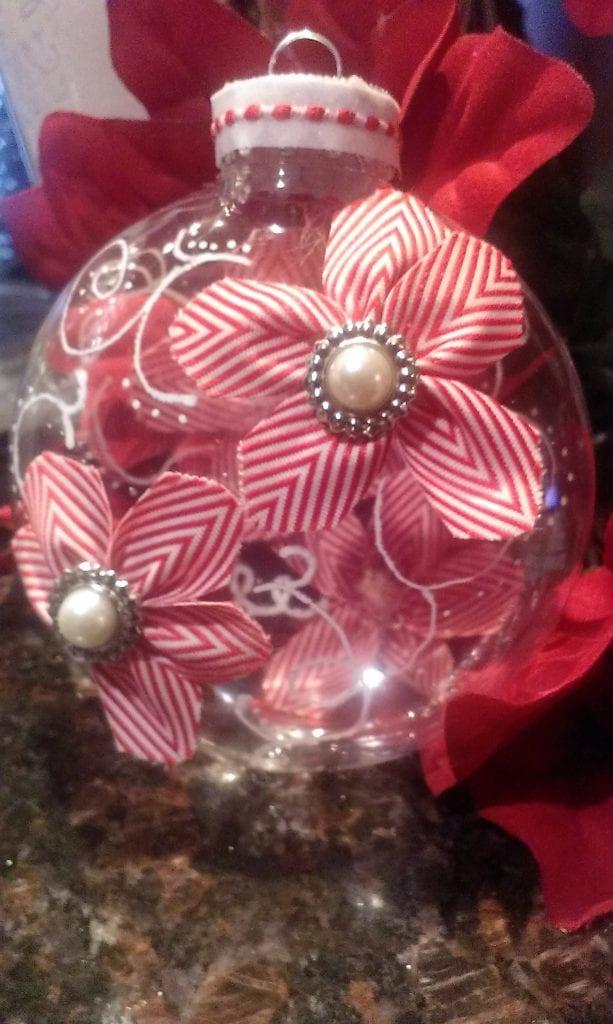 Clear Chevron Flower Christmas Ornament