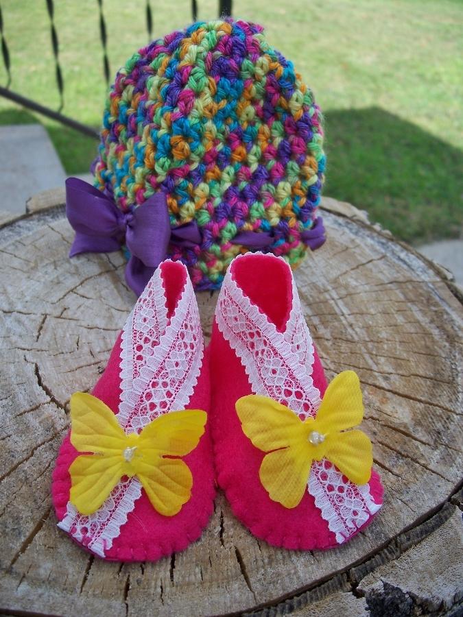 Crochet Baby Hats and Kimono Shoes