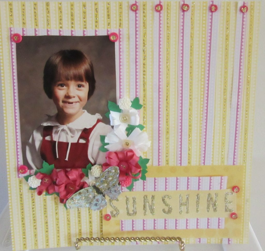 ribbon flower scrapbook layout