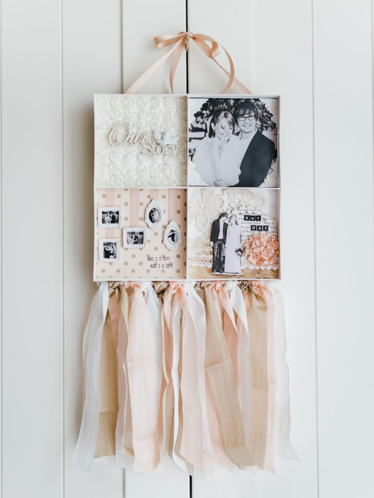 Vintage Shadowbox with Silk Ribon Garland