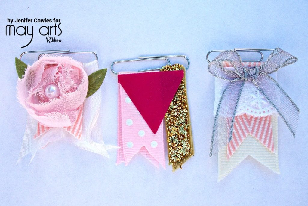 Use Ribbon Scraps and Paper Clips to Create Ribbon Flag Embellishments