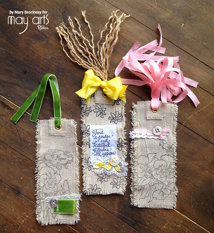 Stamped Ribbon Tags / Bookmarks