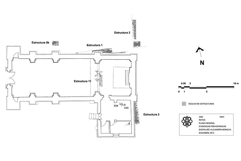 """plano de la Iglesia de la Inmaculada Concepción en Coyoacán, comúnmente llamada """"La Conchita""""."""