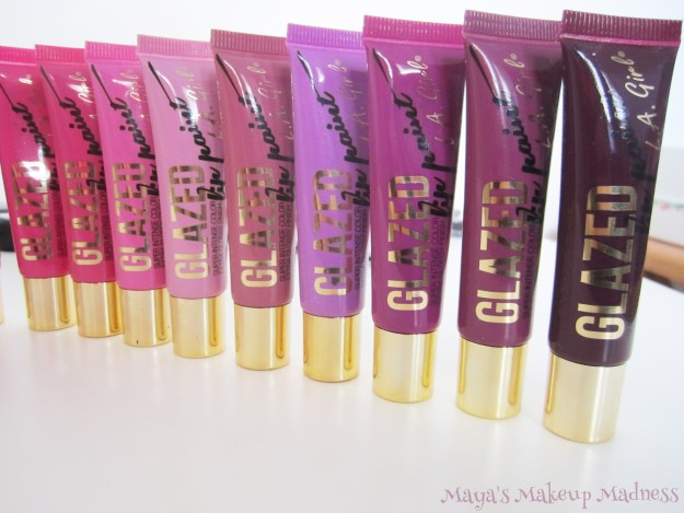 L.A. Girl Glazed Lip Paints: Tease, Bombshell, Babydoll, Whimsical, Blushing, Coy, Seduce, Daring, Tempt (LtR)