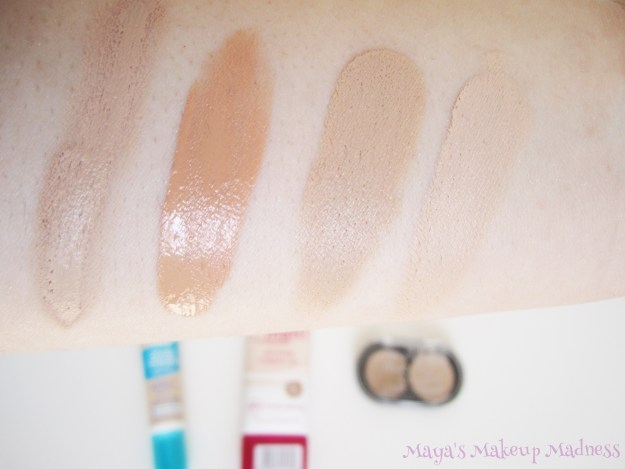 Swatches (LtR): Anti-spot Cover Cream, All About Matt Foundation (30 Matt Sand), Match 2 Cover (10 Natural Beige)