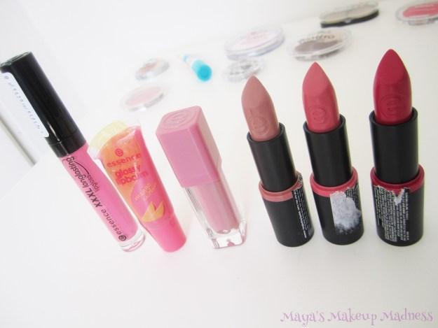 XXXL Longlasting Lipgloss (03 Very Berry), Glossy Lipbalm (Mango Icecream 05), Liquid Lipstick (01 Colour Party), Longlasting Lipsticks: 15 Oh So Matt, 13 Love Me, 12 Blush My Lips [LtR]
