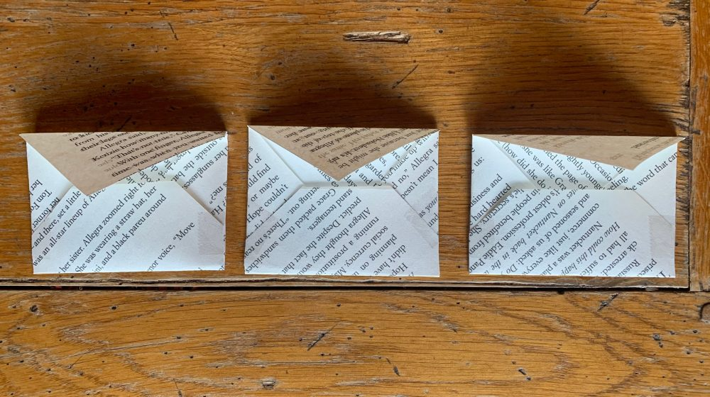 Tiny Book Page Envelopes