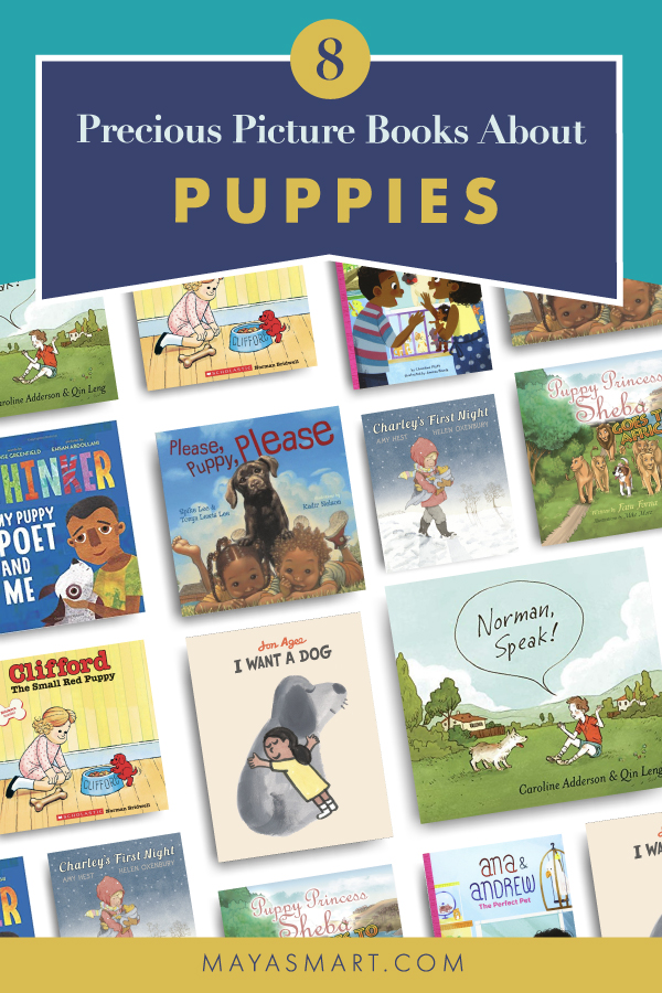Books covers of books about puppies