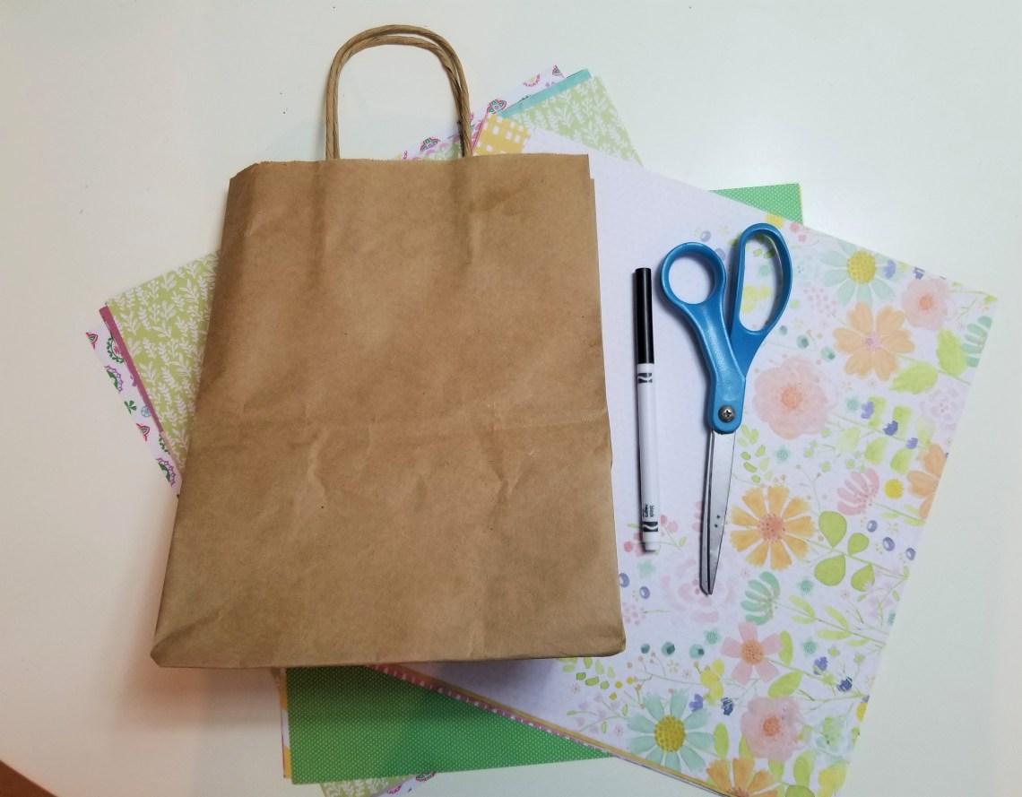 paper bag, scissors, and craft paper
