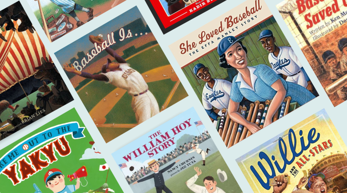 Collage of picture book covers about baseball