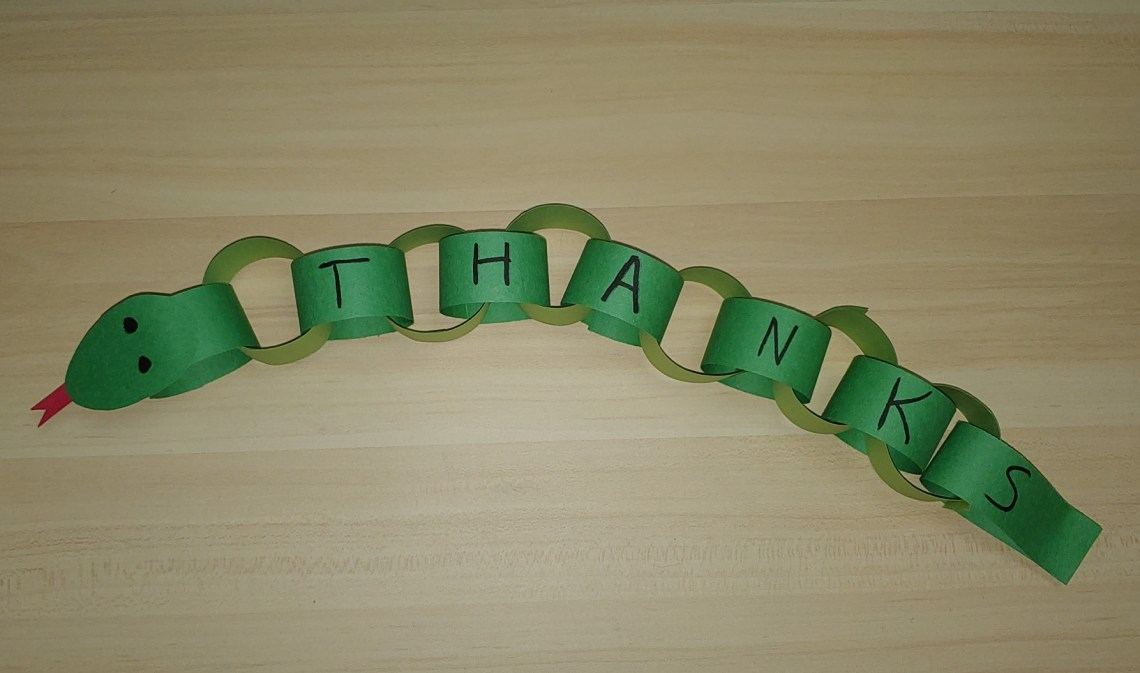 Snake made from green paper chains