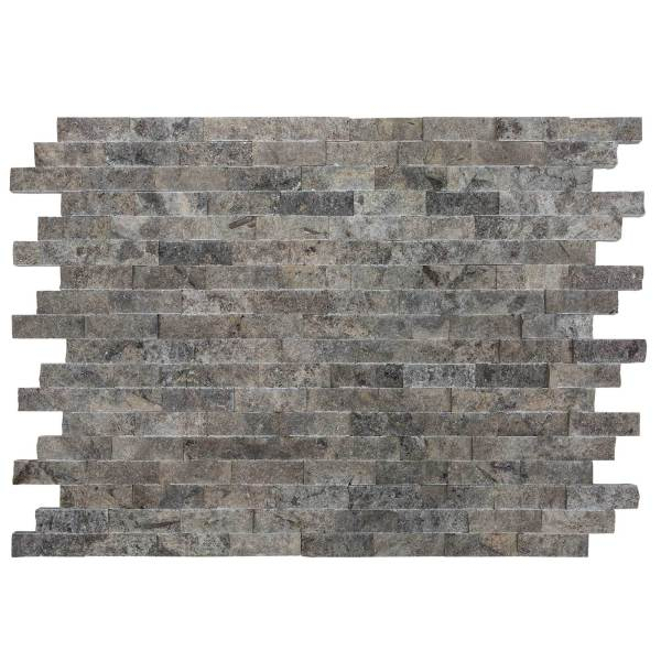 Silver Travertine Stacked Stone Ledger Panel | silver ledger panel | Travertine stone ledger panel | ledger panel