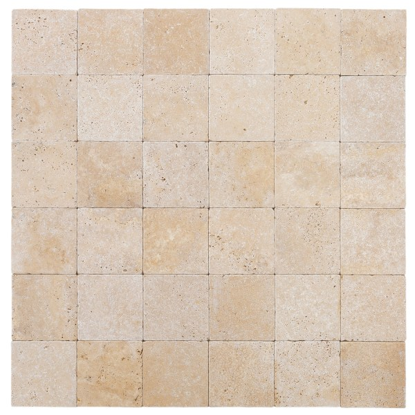 oasis beige 6x6 travertine tiles tumbled multiple topview