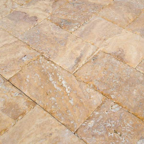 20020072-Meandros Gold Yellow Travertine Pavers - Honed and Chiseled Close view2 - www.mayausatile.com