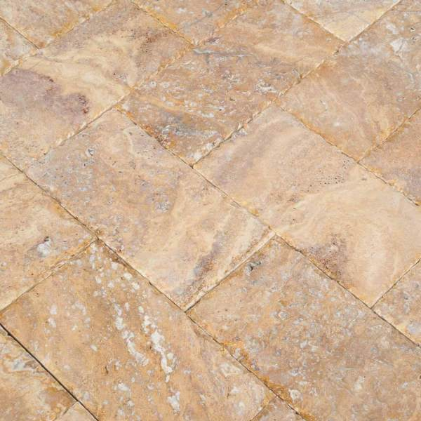 20020072-Meandros Gold Yellow Travertine Pavers - Honed and Chiseled Close view3 - www.mayausatile.com