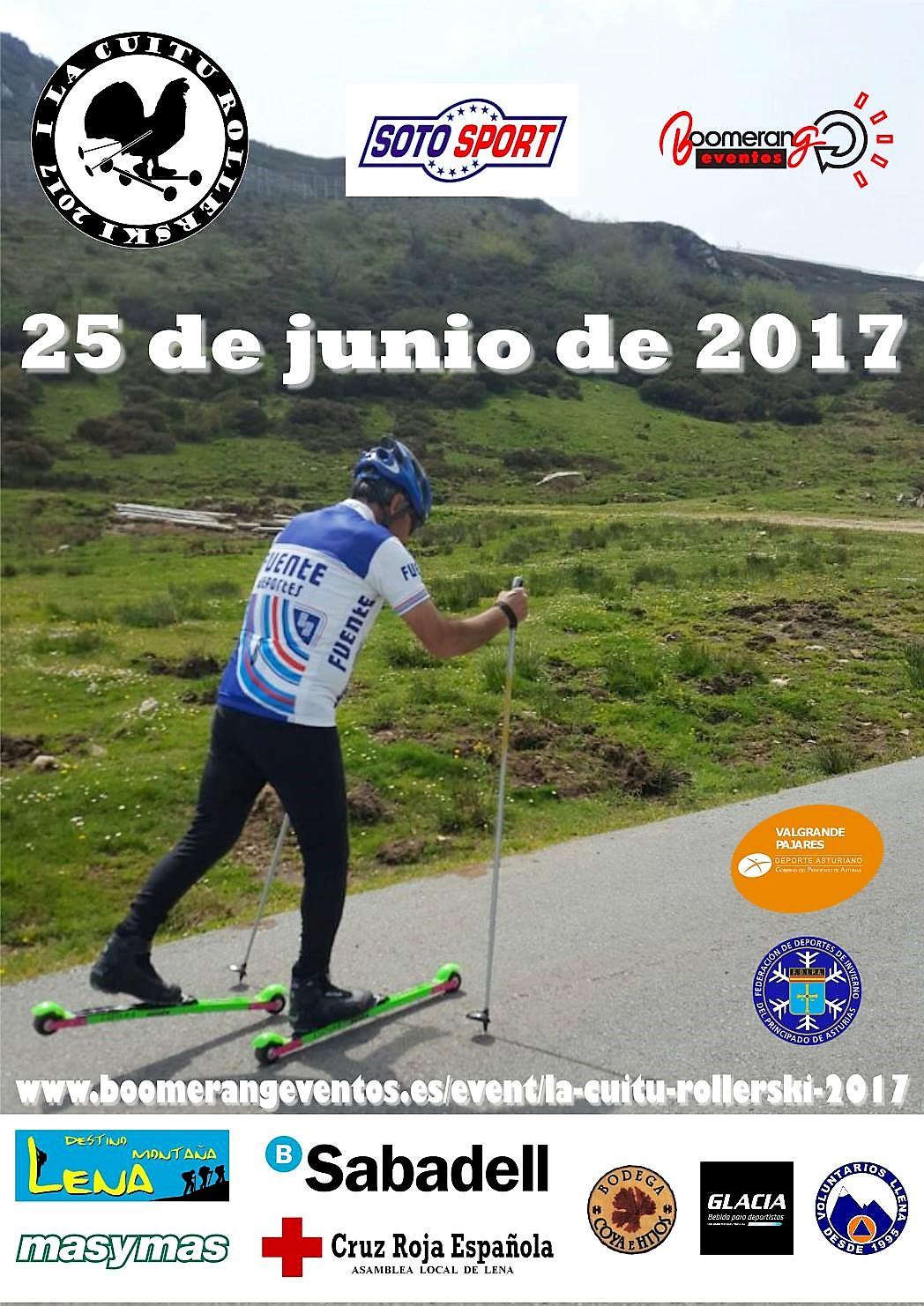 Rollerski: Esquí de fondo sobre ruedas en Valgrande-Pajares. Cuitu Rollerski 2017 el 25 de Junio.