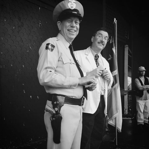 Mayberry Deputy, Floyd, and Ernest T at Mayberry Days. (photo by Jackie Joseph)