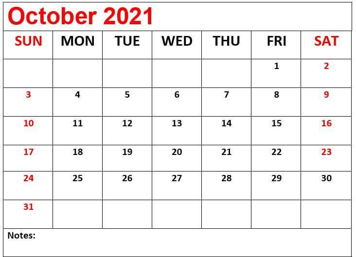 Editable October 2021 Calendar Printable Template