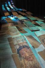 RIVER OF WOMEN NO. 2 (2005) oil painting on used wooden washboards, fishing line, lights, washing machines sound track