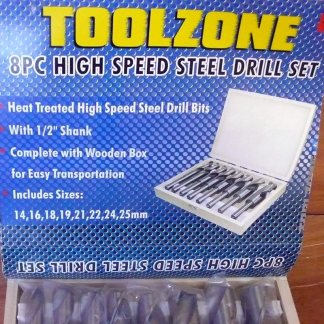 Toolzone 8pc high speed steel drill set 1/2 shank