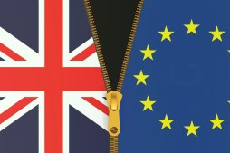 Image of UK and EU flags with a half open zip holding them together