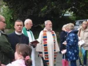 Mayfield's vicar, the Rev Ray Owen (centre), the Rev. Tim Morris (left) and Fr John Guest (right)