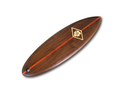 Walnut Surfboard Serving Board - Maple Hibiscus Inlay / Padauk Stringer