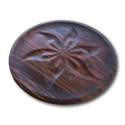 Walnut Round Serving Tray With Flower