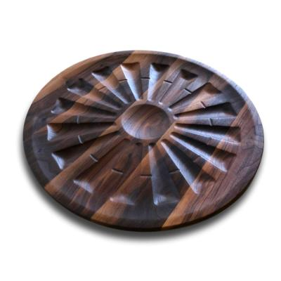 Walnut Round Windmill Serving Tray