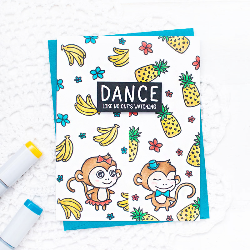 waffle-flower-crafts-dancing-monkey-card-simple-copic-coloring